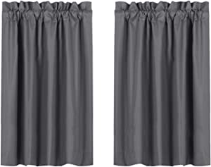 Valea Home Blackout Short Curtains Waterproof Soft Rod Pocket Kitchen Curtains for Bathroom Window Room Darkening Small Curtains for Bedroom, 2 Panels, 45 inch Length, Grey