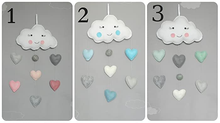 Amazon.com: Cloud wall decor Clouds Baby Mobile Heart Baby Mobile ...