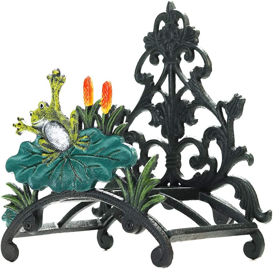 Sungmor Cast Iron Heavy Duty Garden Hose Holder - Decorative Hand-Painted Frog Wall Mounted Water Hose Hanger - Wall Decoration Hanging Hose Rack - Hose Reel Storage Butler - Metal Hose Stand