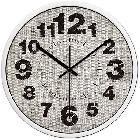 CC Timeon Modern King Size Quartz Wall Clock Non Ticking Quiet Sweep Decorative Clocks, Linen Edition, 12inches, white