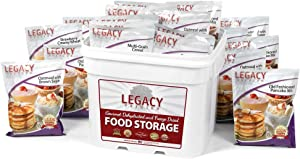 Long Term Dehydrated Food Storage - 120 Large Breakfast Servings - 36 Lbs - Disaster Preparation Freeze Dried Supply Kit - Individual Meals in Sealed Bucket - Easy to Prepare: Just Add Water
