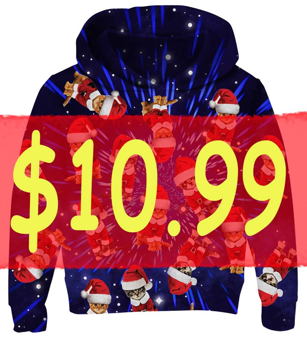 UNICOMIDEA 8-10T Kids Hoodies Ugly Christmas Sweatshirt Cute Printed Christams Cat Digital Pattern Jackets for Boys Winter Tops with Big Pocket,Blue,Size XL