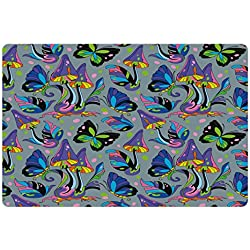 Lunarable Mushroom Pet Mat for Food and Water, Magic Forest with Psychedelic Elements Fungus Mushroom Butterfly Dots and Leaves, Rectangle Non-Slip Rubber Mat for Dogs and Cats, Multicolor