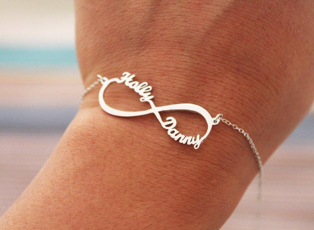 Braccialetto in argento simbolo infinito regalo per Amante argento Argento Braccialetto infinito con 2 Nomi personalizzato Bracciale per coppia Lovers