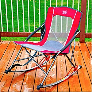 TOUGH RELIABLE BRING AND SET ME ANYWHERE RED Timber Ridge Folding Rocker Chair EASILY SUPPORTS UP TO 300LBS WITH CARRY STRAP - Perfect For Picnics, Camping, Tailgating Or Just Enjoying Your Beer