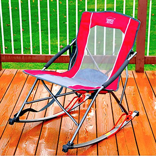 TOUGH RELIABLE BRING AND SET ME ANYWHERE RED Timber Ridge Folding Rocker Chair EASILY SUPPORTS UP TO 300LBS WITH CARRY STRAP - Perfect For Picnics, Camping, Tailgating Or Just Enjoying - Tips Tailgating