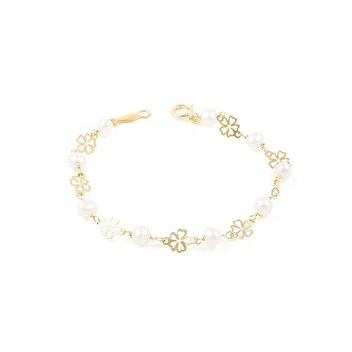 41586ea8c691 Pulsera bebe o niña oro flor calada con perlas  Amazon.es  Joyería