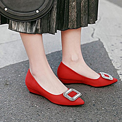 Talón De Rojo Acentuada Scrub Boca Mujer Hebilla Tacón Cabeza Imitación Medio Zapatos 3cm Poco Vamp De De Diamantes De Pendiente Profunda Spring Tacones qaAxw5B7