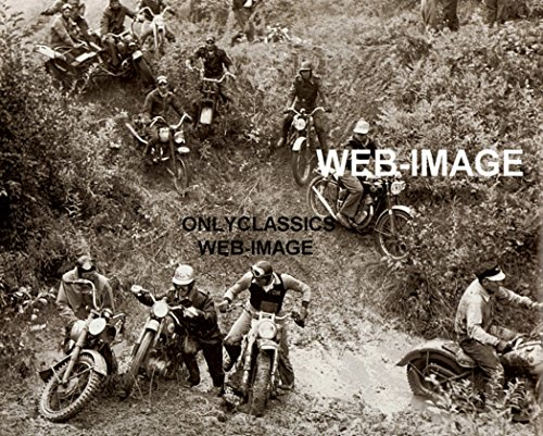 (OnlyClassics 1951 Vintage Motorcycle Race Photo Enduro Racing Sport Motocross Harley Davidson)