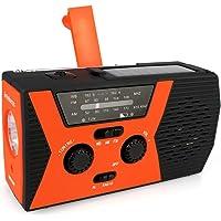 Retekess HR12W Tragbare Radio AM FM Handkurbel Solar Notfall Radio Wind Up Radio mit Taschenlampe Einstellbare Leselampe SOS Alarmfunktion Geeignet für Familien Camping