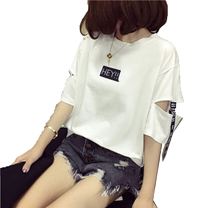 470522752a0f YOUXIXI 2018 Girls wear Casual Korean Harajuku Women Tops Half Sleeve  Letter Loose Hollow Out t Shirt at Amazon Women s Clothing store