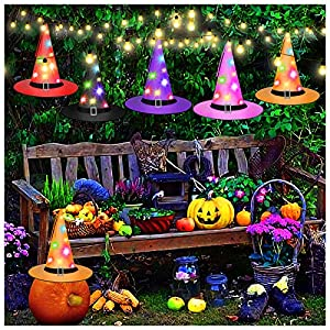 AVIDE Halloween Decorations Witch Hat, Outdoor Hanging Lighted Glowing Witch Hat Decorations Lights String Halloween…