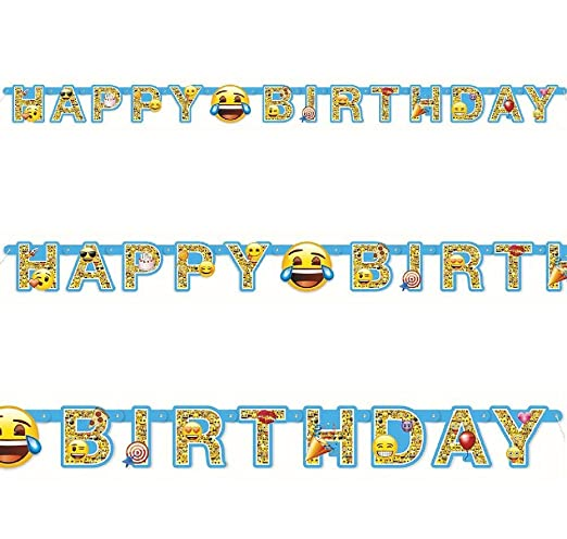 182 M Offizielles Emoji Smiley Happy Birthday Party Buchstaben Banner Dekoration