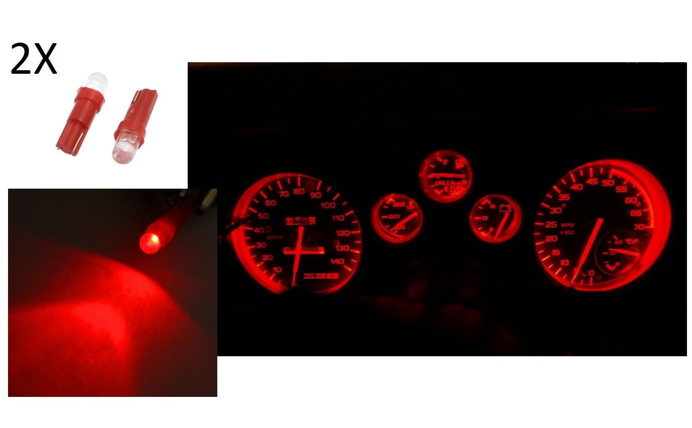 2 Luces de posició n LED color rojo T5, bombilla de 12 V