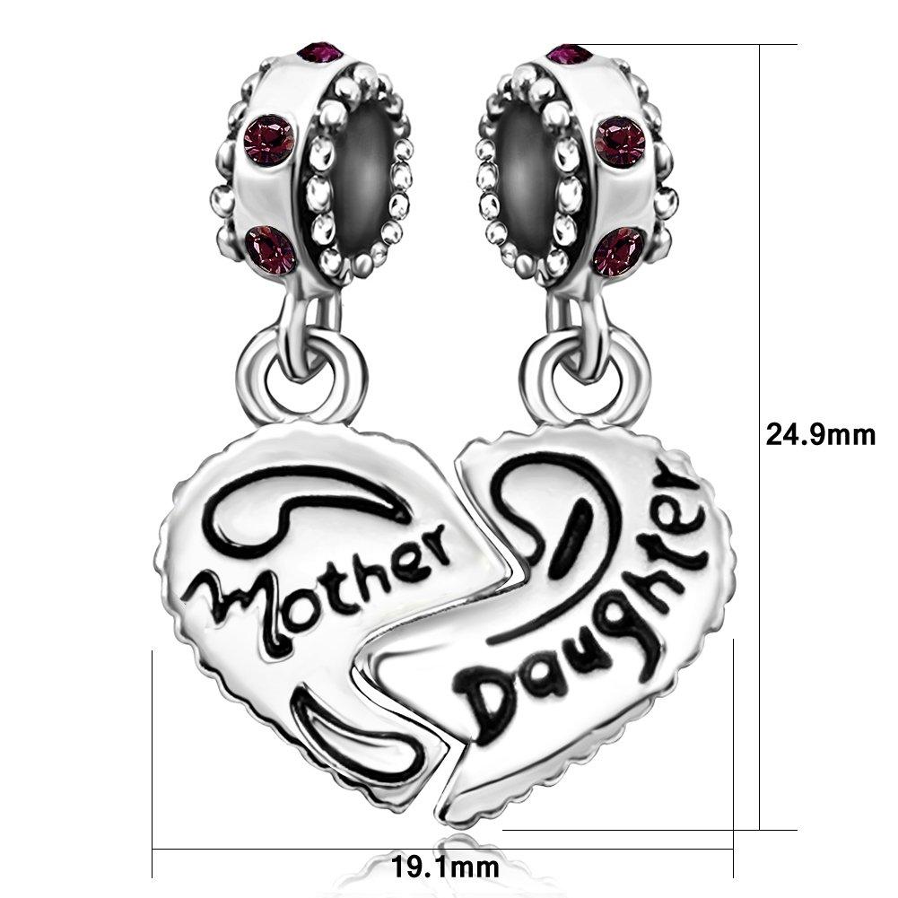 JMQJewelry Mom Mother Heart Daughter Jan-Dec Dangle Charms Bead for Bracelets