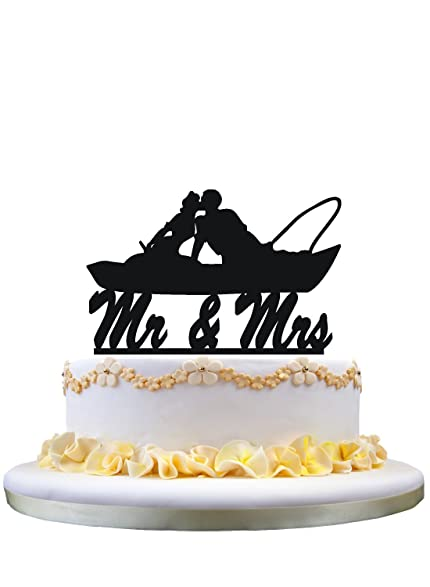 Wedding Cake Topper Fishing Couple In Boat Kissing Mr And Mrs