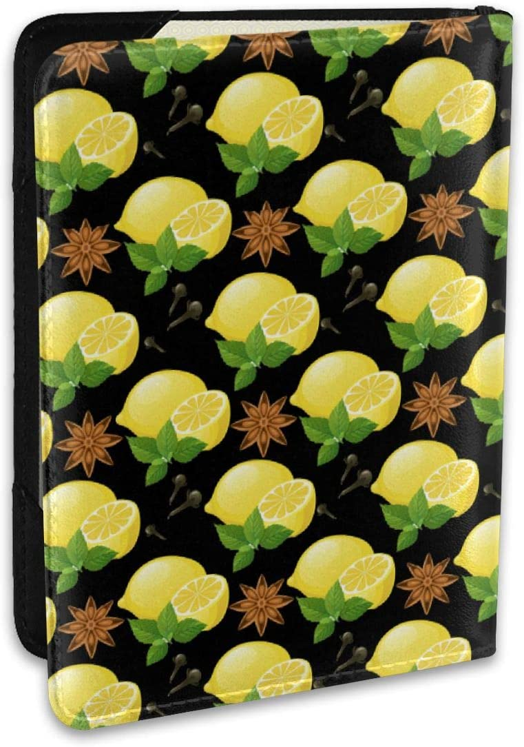 Biahos Leather Passport Cover Yellow Cute Lemon And Leaves Wallet For Passport Case
