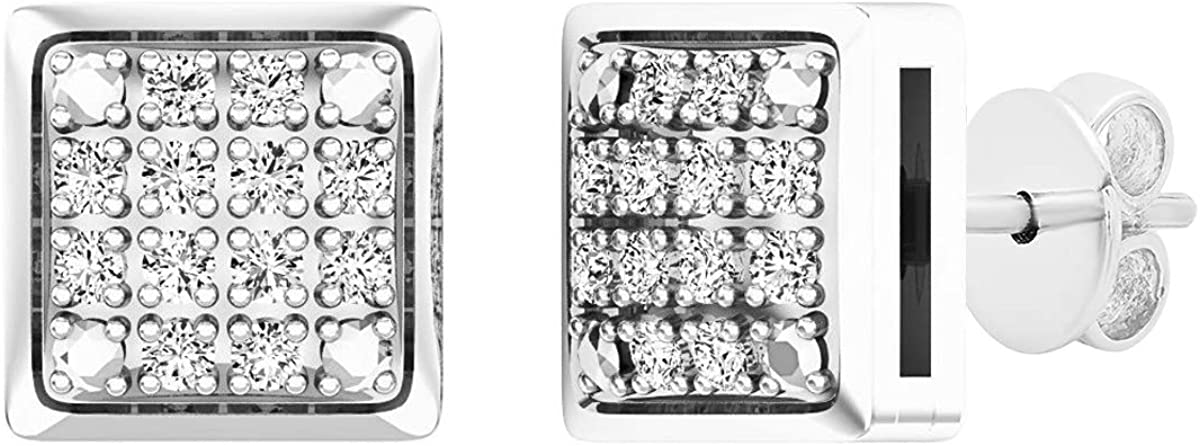 Dazzlingrock Collection 0.20 Carat (ctw) Sterling Silver Round Diamond Ice Cube Dice Shape Mens Hip Hop Iced Stud Earrings