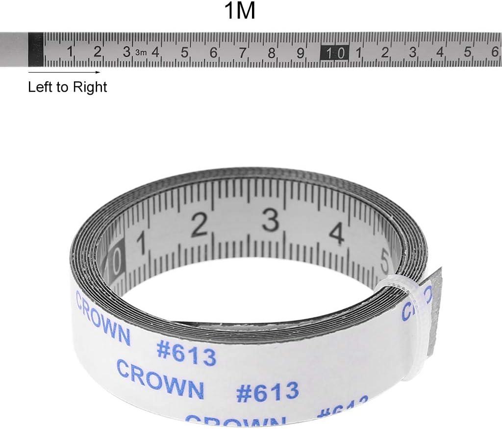 Mentin - Cinta métrica autoadhesiva de acero inoxidable, de izquierda a derecha, izquierda y derecha, en ambos lados 1/2/3 m