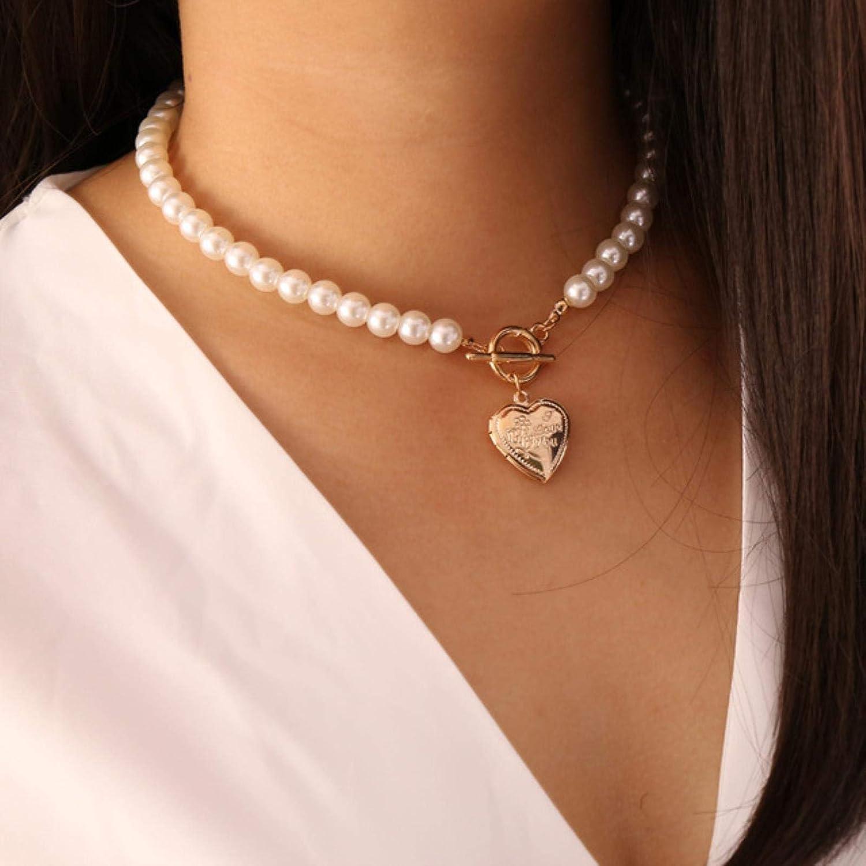 SONGK Collar con Colgante de medallón de corazón de Color Dorado para Mujer, Collares de Gargantilla de Perlas de imitación para Mujer, Collar