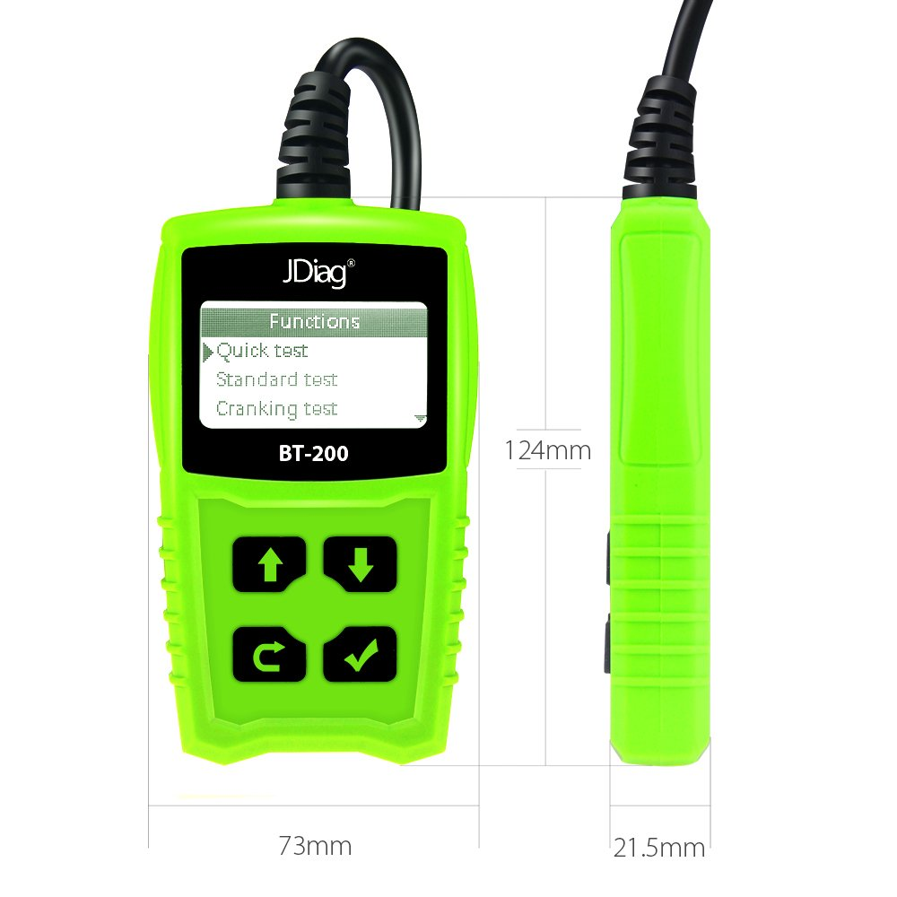 JDiag FasCheck BT-200 Professional Car Load Battery Tester 12V 100-2000 CCA 220AH Digital Battery Analyzer Bad Cell Test Tool for Automotive/Truck/Motorbike Etc(Green) by JDiag (Image #3)