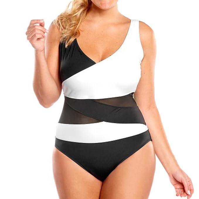 5944a5d612 LAPAYA Women s One Piece Bathing Suit Mesh Splicing Tank Backless Mailot  Swimsuit