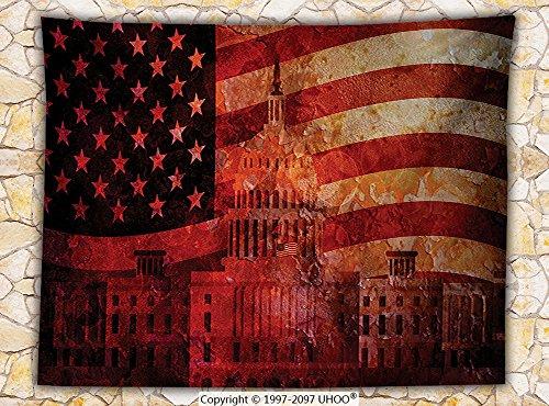American Flag Decor Fleece Throw Blanket Washington Capital Monument White House Republican Congress Senate Print Throw Multi