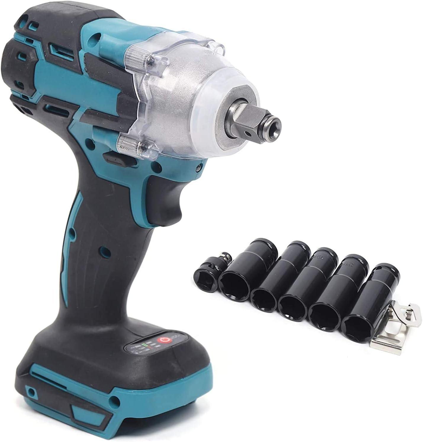 Atornillador de impacto con batería, 1/2 pulgadas, 520 Nm, 6 piezas, compatible con destornillador de carraca, 18 V, 4000 rpm