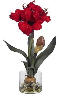 Amazon amaryllis silk flower arrangement red home kitchen nearly natural 4827 amaryllis with round vase red mightylinksfo
