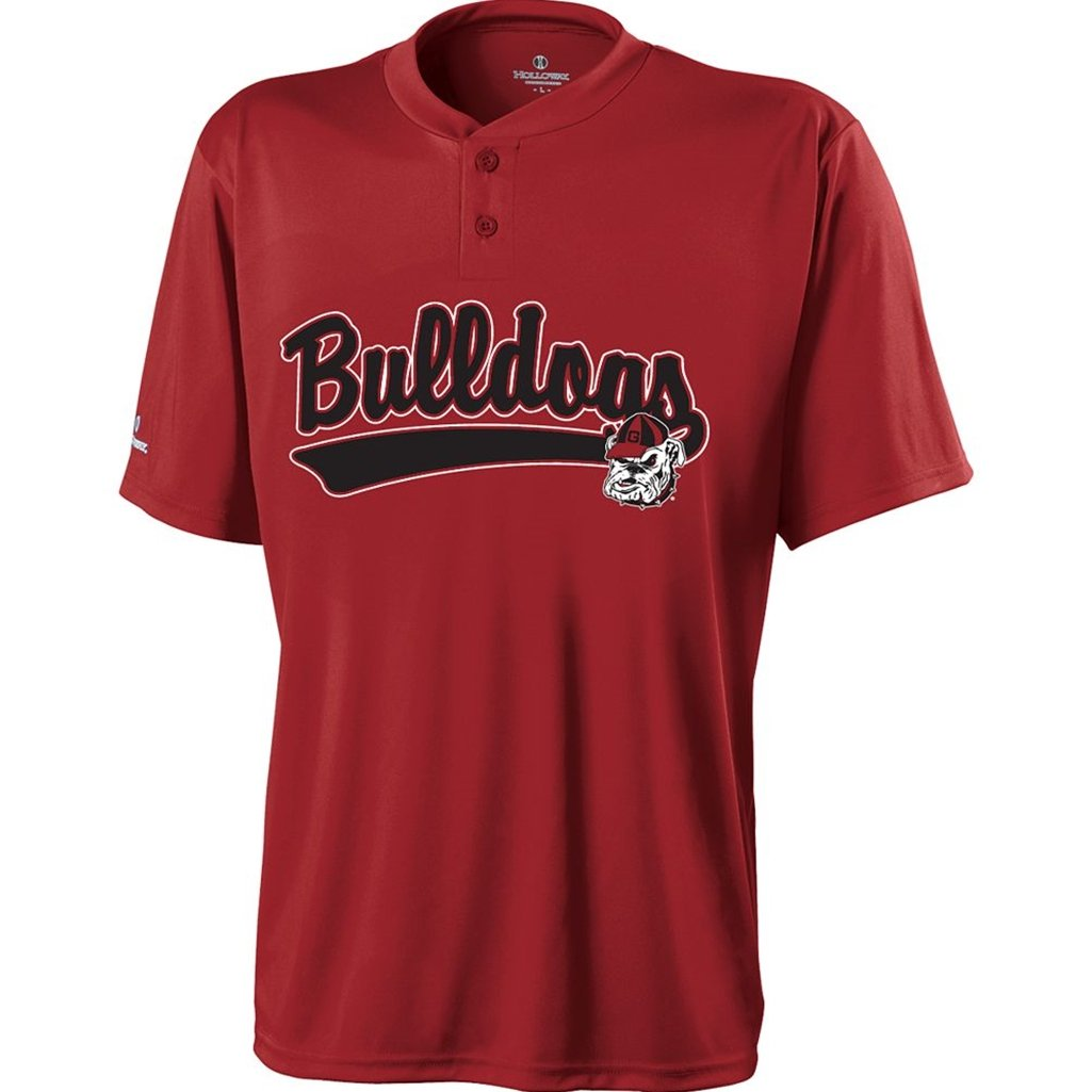 Holloway Georgia Bullbogs Ball Park Jersey (XX-Large, Red/Black) by Holloway