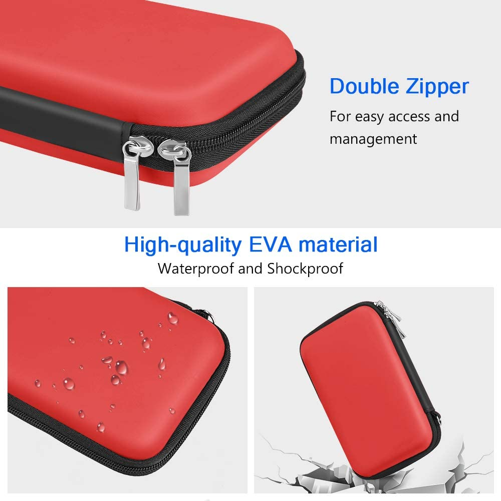ACOCOBUY Cable Organiser Bag Hard EVA Case Protective Organiser Carry Pouch Shockproof Carry Case for Hard Drive Power Bank SD Cards Blue