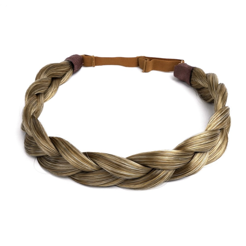 Ty.Hermenlisa Chunky Synthetic Hair Braided Headband Classic Wide Braids Elastic Stretch Hairpiece Women Beauty accessory, 55g, Dark Blonde