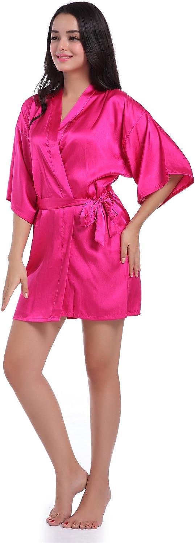 Anwedding Mujer Pijamas Kimono de Sat/én Puro Color Corto con Estilo Oblicuo Cuello de Pico