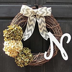 Personalized Summer Spring Year Round Hydrangea Grapevine Monogram Wreath for Front Door Decor; Initial Letter Choice; Green and Cream 103