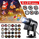 Suaoki Christmas Lights Projector 30 Slides LED Landscape Spotlight Waterproof Light Lamp with DIY Paper, 360° Rotation Image, Radiator for Xmas New Year Birthday Party Holiday Garden Decorations