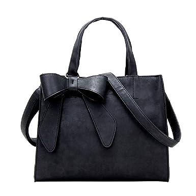 a53659b087c BIBITIME Women PU Leather Bow Handbag Tote Shoulder Bag Clutch Crossbody Bag  Messenger Bag,Black