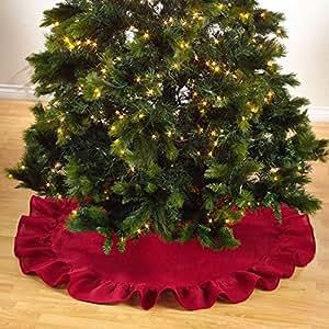 Holiday Décor Ruffle Trim Jute Burlap Xmas Tree Skirt, 53-inch Round (Red)