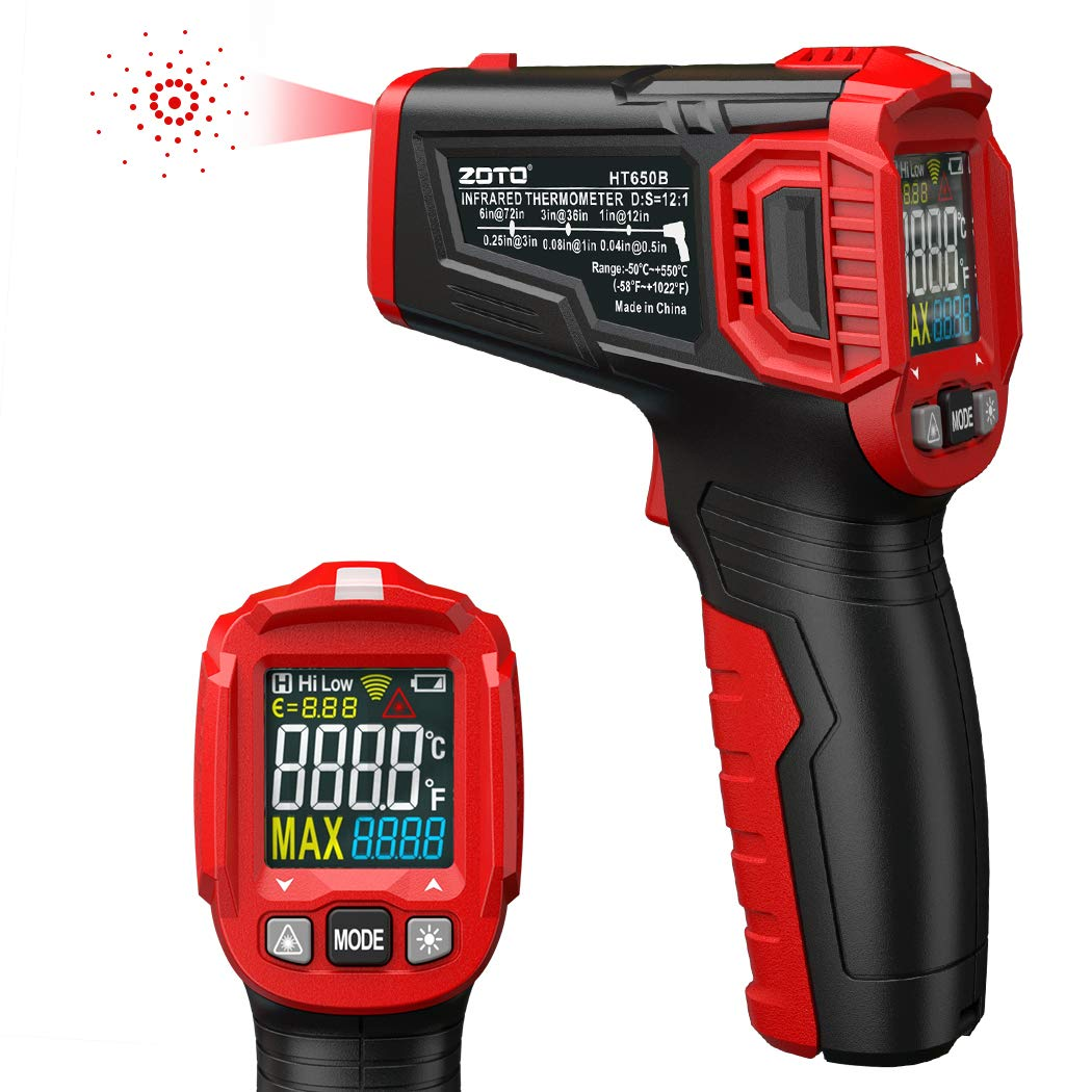 Infrared Thermometer, ZOTO Color Screen Non Contact Digital Laser Thermometer Temperature Gun -58℉~1022℉ (-50℃ ~ 550℃) with Adjustable Emissivity and Max Measure for Kitchen Cooking BBQ Automotive by ZOTO