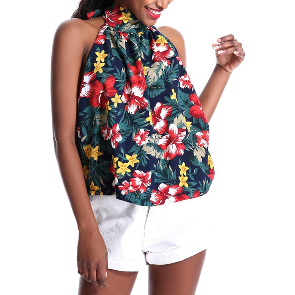 Hotkey Womens Tops Short Sleeve Casual Women Halter Strapless Floral Print Sleeveless Tops Blouse Vest Tank Navy