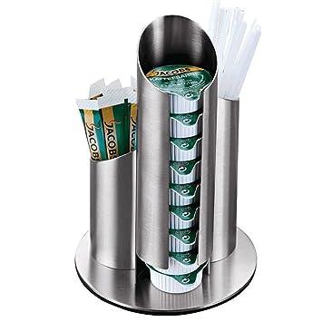 znystar dispensador de cápsulas cápsula Soporte Mucha Dispenser Brushed Acero Inoxidable Leche vasos de azúcar bolsillos