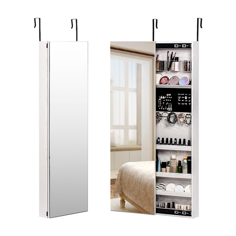 NEX Door Wall Mounted Jewelry Armoire Makeup Storage Organizer with Real Glass Mirror - White