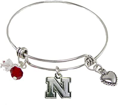 Nebraska Cornhuskers 3 Charm Red Crystal Silver Wire Bracelet Jewelry NCAA NU