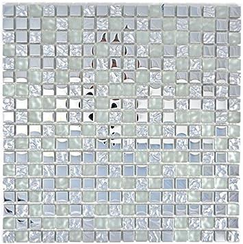 Mosaik Fliese Transluzent Glasmosaik Crystal silber Struktur f/ür WAND BAD WC DUSCHE K/ÜCHE FLIESENSPIEGEL THEKENVERKLEIDUNG BADEWANNENVERKLEIDUNG Mosaikmatte Mosaikplatte