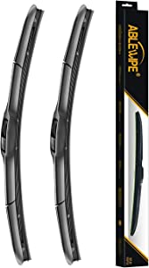 "ABLEWIPE Windshield Hybrid Wiper Blades 24"" + 18"" Front Window Windshield U/J Hook Wiper Blades Model 18O13B(Set of 2)"