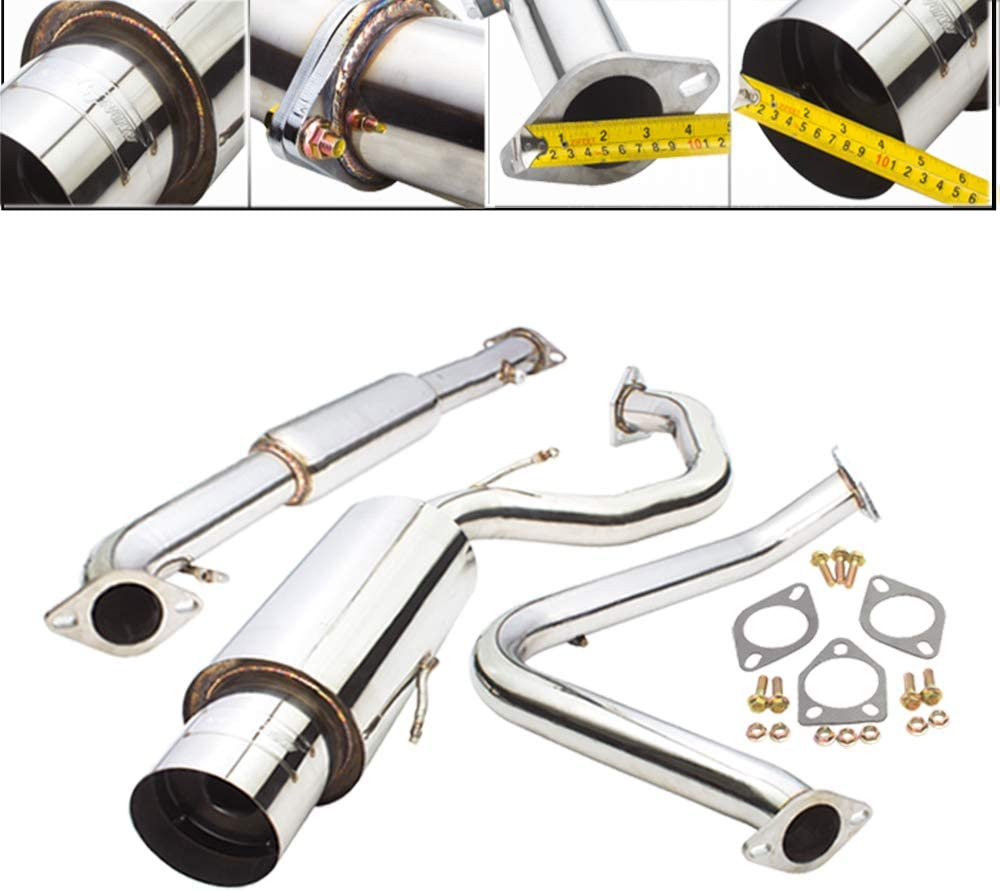 Engine 2.25 Inch Stainless Steel Catback Exhaust System 4.5 Inch Muffler Tip 2.0L Non-Turbo Fit 1995-1999 Mitsubishi Eclipse//Eagle Talon