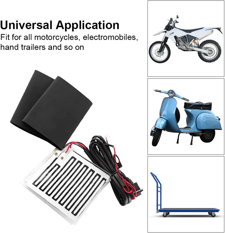 Keenso Motorbike Winter Heated Grip Pads Inserts Handlebar Hand Warmers ATV Motorcycle Warm Heated Grip Kit Pads 12V Universal Motorcycle Handlebar Heated Pad Warm Heated Grip Kit Pads