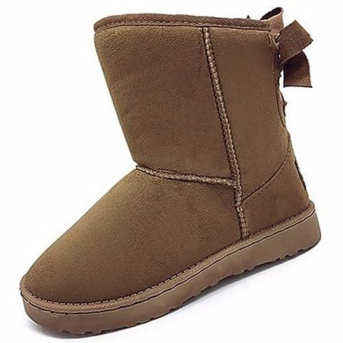 30549a74e27 ZHUDJ Zapatos De Mujer Acudiendo Otoño Invierno Confort Botas Botas De Nieve  Ronda Toe Bowknot For Casual Caqui Marrón Negra  Amazon.es  Zapatos y ...