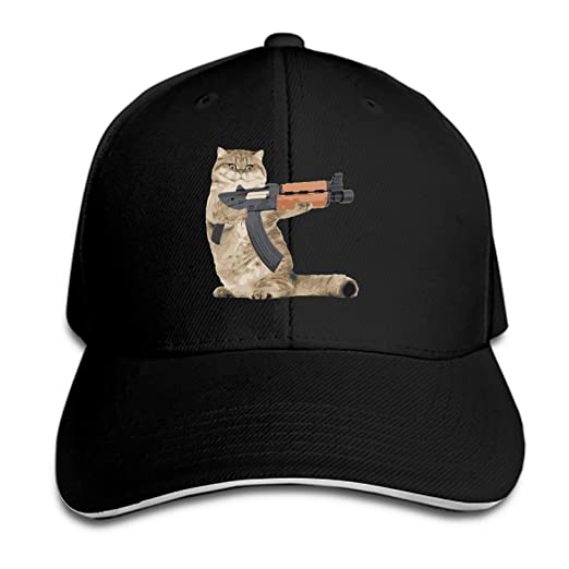 pretty nice 072fd 2d00e Amazon.com  Unisex Gun Cat Baseball Cap Dad Hat Peaked Flat Trucker Hats   Clothing