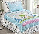 Awad Home Fashion 2 Piece Kids Quilt Bedspread Polka Dot Blue & White Paris Eiffel Tower Bedding Set, Twin QS-29