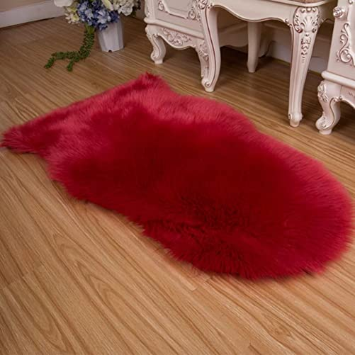 Luxury Super Soft Faux Fur Sheepskin Rug Fuzzy Fluffy Carpet for Bedroom,Living Room Armchair Couch Sofa 25.6 x 40inch red